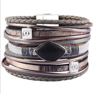 Black Stone Leather Cuff Bracelet